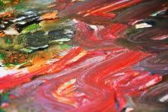 Κόκκινο πράσινο πορτοκαλί χρώμα watercolor, μαλακά χρώματα μιγμάτων, υπόβαθρο σημείων ζωγραφικής, ζωηρόχρωμο αφηρημένο υπόβαθρο w Στοκ φωτογραφία με δικαίωμα ελεύθερης χρήσης