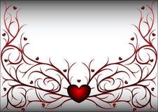 κόκκινο προτύπων 2 καρδιών διανυσματική απεικόνιση