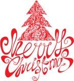 Κόκκινο πρότυπο Χριστουγέννων με το swirly διακοσμητικό δέντρο Στοκ Φωτογραφίες