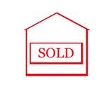 Κόκκινο πωλημένο σπίτι απεικόνιση αποθεμάτων