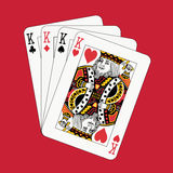 κόκκινο πόκερ βασιλιάδων Στοκ Φωτογραφία