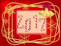 Κόκκινο πλαίσιο Χριστουγέννων διανυσματική απεικόνιση