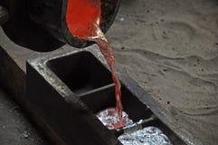 Κόκκινο ρίψης - καυτό υγρό μέταλλο Στοκ Εικόνες