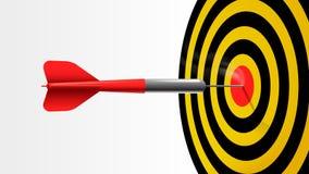Κόκκινο ραβδί βελών στο κέντρο του πίνακα στόχων διανυσματική απεικόνιση