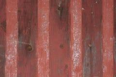 Κόκκινο ριγωτό εκλεκτής ποιότητας μέταλλο και ξύλινη ανασκόπηση Στοκ Εικόνες