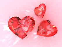 κόκκινο ρουμπίνι καρδιών Στοκ φωτογραφίες με δικαίωμα ελεύθερης χρήσης