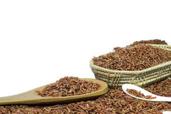Κόκκινο ρύζι ή Riceberry και ξύλινα κουτάλι και καλάθι Στοκ Εικόνες