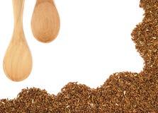 Κόκκινο ρύζι ή Riceberry και ξύλινο κουτάλι Στοκ φωτογραφία με δικαίωμα ελεύθερης χρήσης