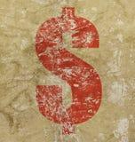 Κόκκινο σημάδι εικονιδίων αμερικανικών δολαρίων πέρα από το υπόβαθρο grunge Στοκ εικόνα με δικαίωμα ελεύθερης χρήσης