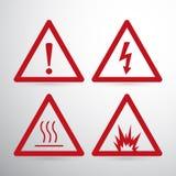 Κόκκινο σημάδι κινδύνου προσοχής προειδοποίηση σημαδιών κ cogwheel ανασκόπησης η απεικόνιση απομόνωσε το λευκό ελεύθερη απεικόνιση δικαιώματος
