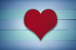 Κόκκινο σημάδι καρδιών στο μπλε και πράσινο αναδρομικό ξύλο Στοκ φωτογραφία με δικαίωμα ελεύθερης χρήσης