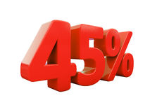 45 κόκκινο σημάδι τοις εκατό που απομονώνεται Στοκ Εικόνες
