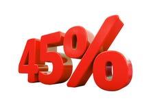 45 κόκκινο σημάδι τοις εκατό που απομονώνεται Στοκ Εικόνα