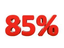 85 κόκκινο σημάδι τοις εκατό που απομονώνεται Στοκ Φωτογραφίες
