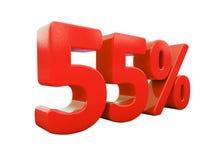 55 κόκκινο σημάδι τοις εκατό που απομονώνεται Στοκ εικόνα με δικαίωμα ελεύθερης χρήσης
