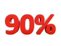 90 κόκκινο σημάδι τοις εκατό που απομονώνεται διανυσματική απεικόνιση