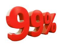 99 κόκκινο σημάδι τοις εκατό που απομονώνεται Στοκ Εικόνες