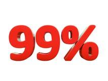99 κόκκινο σημάδι τοις εκατό που απομονώνεται Στοκ Φωτογραφία