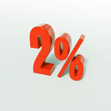 2 κόκκινο σημάδι τοις εκατό Στοκ Εικόνες