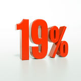 19 κόκκινο σημάδι τοις εκατό Στοκ Εικόνες