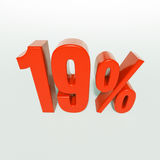 19 κόκκινο σημάδι τοις εκατό Στοκ εικόνα με δικαίωμα ελεύθερης χρήσης
