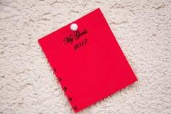 Κόκκινο σημειωματάριο με τις λέξεις οι στόχοι μου Στοκ Φωτογραφία