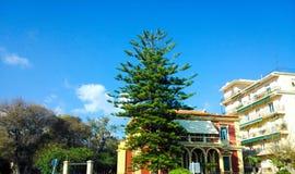 Κόκκινο σπίτι και ένα πράσινο δέντρο Στοκ εικόνες με δικαίωμα ελεύθερης χρήσης