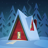 Κόκκινο σπίτι στο χιόνι Στοκ φωτογραφίες με δικαίωμα ελεύθερης χρήσης