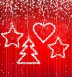κόκκινο σπινθήρισμα Χριστ& Στοκ φωτογραφία με δικαίωμα ελεύθερης χρήσης