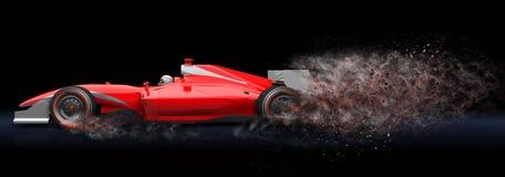 Κόκκινο σπορ αυτοκίνητο με το ίχνος της σκόνης Στοκ Εικόνα
