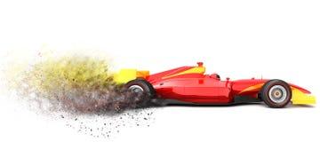 Κόκκινο σπορ αυτοκίνητο με το ίχνος της σκόνης Στοκ φωτογραφίες με δικαίωμα ελεύθερης χρήσης