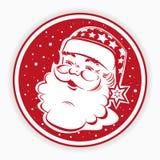Κόκκινο στρογγυλό σημάδι Χριστουγέννων, γραμματόσημο με τη σκιαγραφία του προσώπου Άγιου Βασίλη, αστέρια και snowflakes ελεύθερη απεικόνιση δικαιώματος