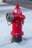 Κόκκινο στόμιο υδροληψίας πυρκαγιάς Στοκ Φωτογραφία