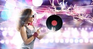 κόκκινο συμβαλλόμενων μερών κοριτσιών disco Στοκ Εικόνες