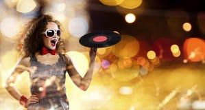 κόκκινο συμβαλλόμενων μερών κοριτσιών disco Στοκ εικόνα με δικαίωμα ελεύθερης χρήσης