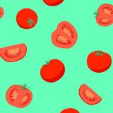 Κόκκινο σχέδιο ντοματών στο πράσινο υπόβαθρο Στοκ εικόνες με δικαίωμα ελεύθερης χρήσης
