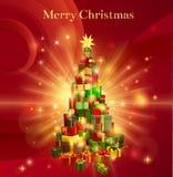 Κόκκινο σχέδιο δέντρων δώρων Καλών Χριστουγέννων Στοκ Εικόνες