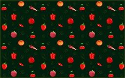 Κόκκινο σχέδιο λαχανικών φρούτων Στοκ Εικόνες