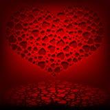 Κόκκινο σχέδιο με ένα σύνολο καρδιών Στοκ φωτογραφίες με δικαίωμα ελεύθερης χρήσης