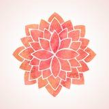 Κόκκινο σχέδιο λουλουδιών Watercolor mandala Στοκ εικόνα με δικαίωμα ελεύθερης χρήσης