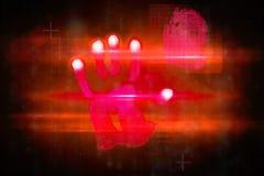Κόκκινο σχέδιο τυπωμένων υλών χεριών τεχνολογίας Στοκ φωτογραφία με δικαίωμα ελεύθερης χρήσης