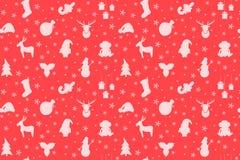 Κόκκινο σχέδιο Χριστουγέννων με Santa, χριστουγεννιάτικο δέντρο, χιονάνθρωπος Στοκ Φωτογραφίες