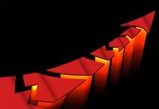 Κόκκινο σχισμένο βέλος που πετά μακριά στις μηχανές πυραύλων Στοκ Εικόνες