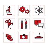 κόκκινο σχολείο 2 εικονιδίων Στοκ φωτογραφία με δικαίωμα ελεύθερης χρήσης
