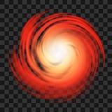 Κόκκινο σύμβολο τυφώνα στο σκοτεινό διαφανές υπόβαθρο απεικόνιση αποθεμάτων