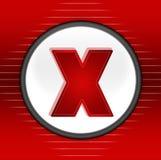 κόκκινο σύμβολο Χ κουμπ&iot Στοκ Φωτογραφίες