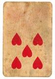 Κόκκινο σύμβολο καρδιών πέντε στο παλαιό παίζοντας υπόβαθρο εγγράφου καρτών Στοκ φωτογραφίες με δικαίωμα ελεύθερης χρήσης