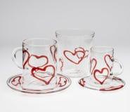 Κόκκινο σύνολο γυαλικών σχεδίου καρδιών Στοκ φωτογραφία με δικαίωμα ελεύθερης χρήσης