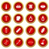 Κόκκινο σύνολο κύκλων εικονιδίων εργαλείων υγιεινής Στοκ Εικόνες