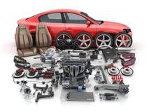 Κόκκινο σώμα αυτοκινήτων που αποσυντίθενται και πολλά μέρη οχημάτων διανυσματική απεικόνιση